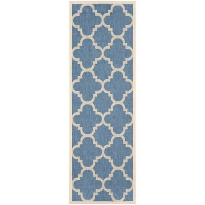 Short Lattice Blue/Beige Indoor/Outdoor Area Rug Rug Size: Runner 2'4