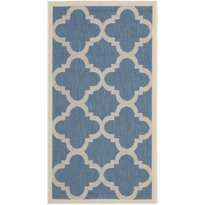 Short Lattice Blue/Beige Indoor/Outdoor Area Rug Rug Size: Rectangle 2' x 3'7