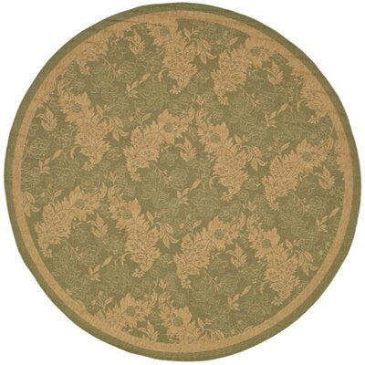 Short Green Outdoor Rug Rug Size: Round 67