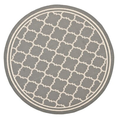 Short Anthracite & Beige Indoor/Outdoor Area Rug Rug Size: Round 4