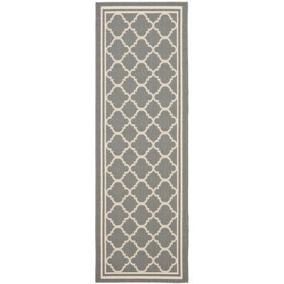 Short Anthracite & Beige Indoor/Outdoor Area Rug Rug Size: Runner 23 x 18