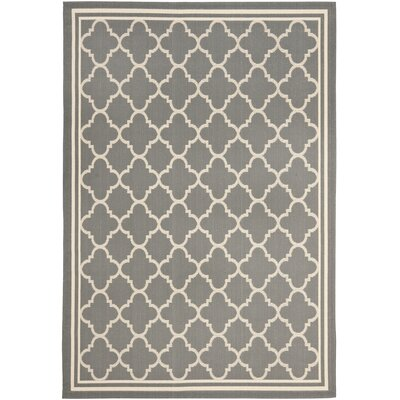 Short Anthracite & Beige Indoor/Outdoor Area Rug Rug Size: 67 x 96