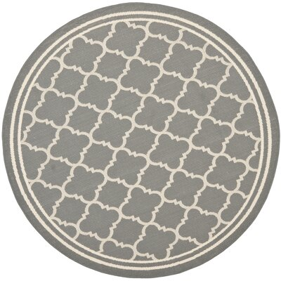 Short Anthracite & Beige Indoor/Outdoor Area Rug Rug Size: Round 53