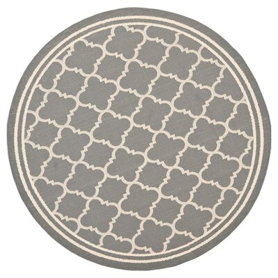 Short Anthracite & Beige Indoor/Outdoor Area Rug Rug Size: Round 67