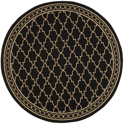Short Black & Sand Checked Area Rug Rug Size: Round 67