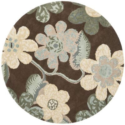 Mccullough Brown Area Rug Rug Size: Round 5