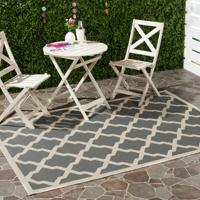 Short Gray/Ivory Indoor/Outdoor Area Rug Rug Size: Rectangle 53 x 77