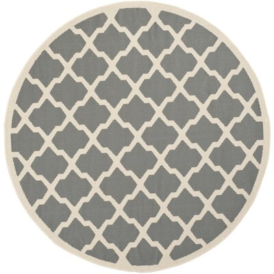 Short Gray IndoorOutdoor Area Rug Rug Size: Round 53