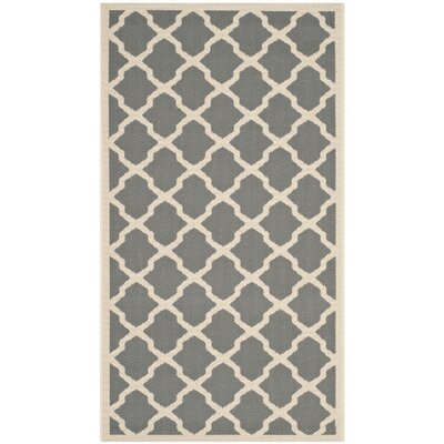 Short Anthracite & Beige Outdoor Area Rug Rug Size: 67 x 96
