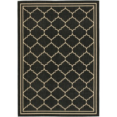 Short Black/Creme Outdoor Area Rug Rug Size: 9 x 12