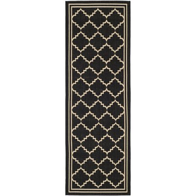 Short Black/Creme Outdoor Area Rug Rug Size: Runner 23 x 67