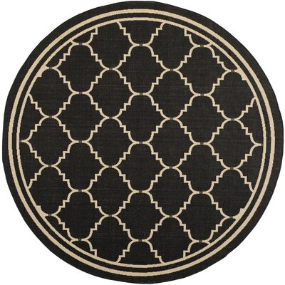 Short Black/Creme Outdoor Area Rug Rug Size: Round 6'7
