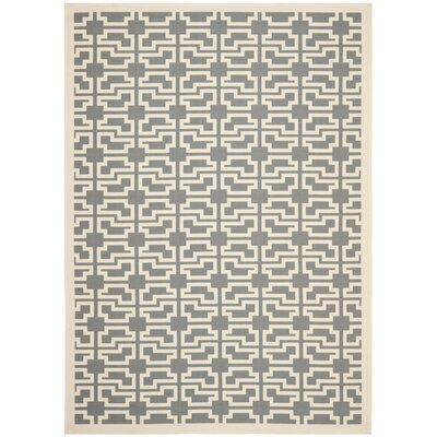 Short Grey/Beige Outdoor Area Rug Rug Size: 53 x 77