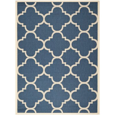 Short Navy/Beige Outdoor Area Rug Rug Size: 53 x 77