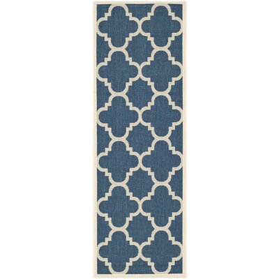 Short Navy/Beige Outdoor Area Rug Rug Size: Runner 23 x 67