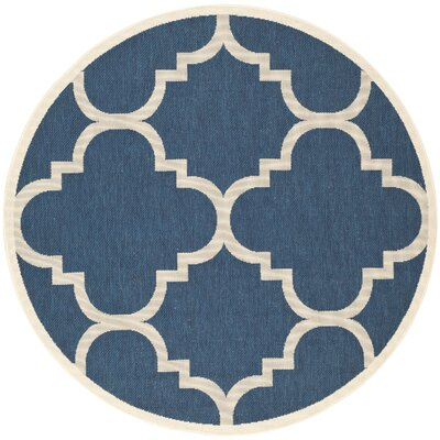 Short Navy/Beige Indoor/Outdoor Area Rug Rug Size: Round 67
