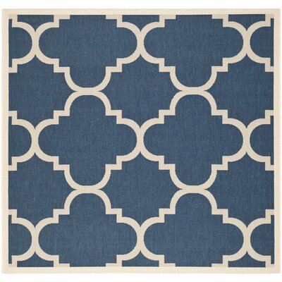 Welby Navy/Beige Outdoor Area Rug Rug Size: Square 710