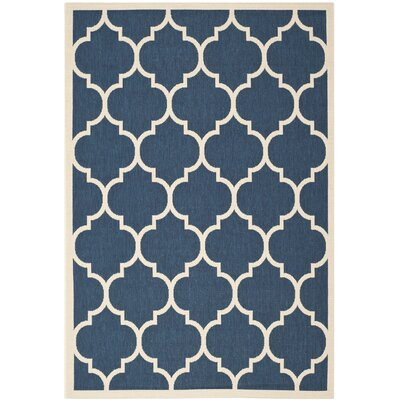Short Geometric Blue Outdoor Area Rug Rug Size: 53 x 77