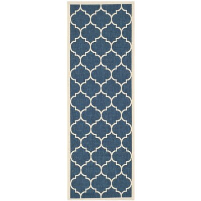 Short Geometric Blue Outdoor Area Rug Rug Size: Runner 23 x 67