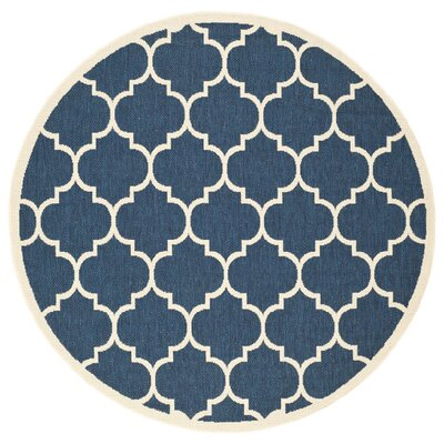 Short Blue/Beige Indoor/Outdoor Area Rug Rug Size: Round 67