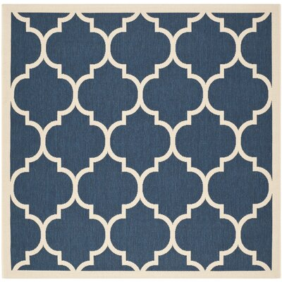 Short Navy/Beige Indoor/Outdoor Area Rug Rug Size: Square 4
