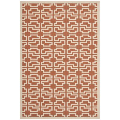 Short Terracotta/Beige Outdoor Area Rug Rug Size: 53 x 77