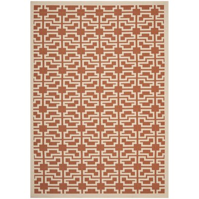 Short Terracotta/Beige Outdoor Area Rug Rug Size: 67 x 96