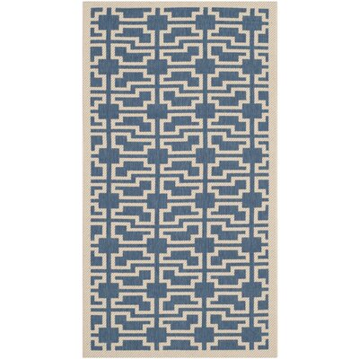 Short Blue/Beige Elaborate Outdoor Area Rug Rug Size: Rectangle 4 x 57