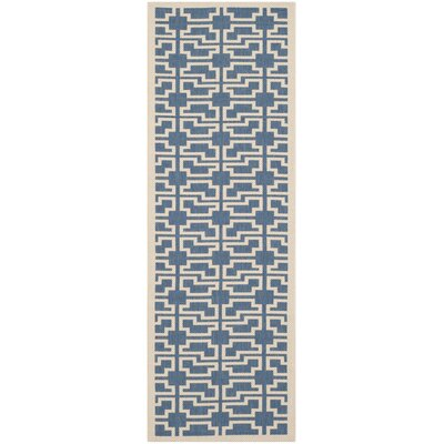 Short Blue/Beige Elaborate Outdoor Area Rug Rug Size: Runner 23 x 67
