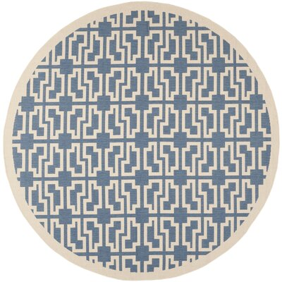 Short Blue/Beige Elaborate Outdoor Area Rug Rug Size: Round 710