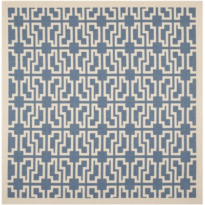 Short Blue/Beige Elaborate Outdoor Area Rug Rug Size: Square 710