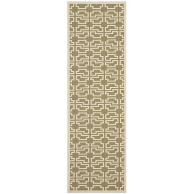 Short Green/Beige Outdoor Patterns Area Rug Rug Size: Runner 27 x 82