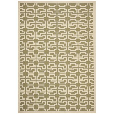 Short Green/Beige Outdoor Patterns Area Rug Rug Size: 67 x 96