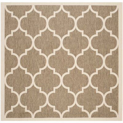 Short Brown/Bone Outdoor Rug Rug Size: Square 4