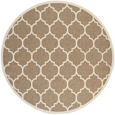 Short Brown/Bone Outdoor Rug Rug Size: Round 4
