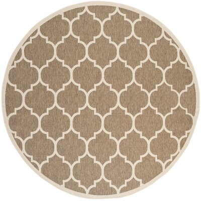 Welby Brown/Bone Outdoor Rug Rug Size: Round 710