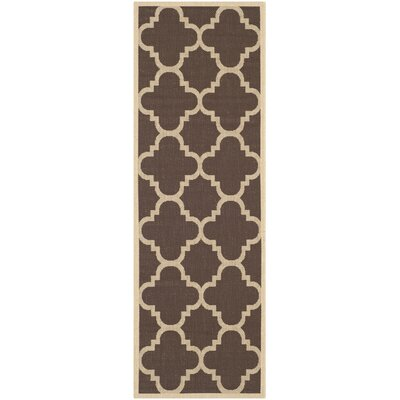 Short Dark Brown Outdoor Area Rug Rug Size: Runner 24 x 12