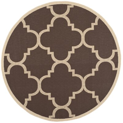 Short Dark Brown Outdoor Area Rug Rug Size: Round 67