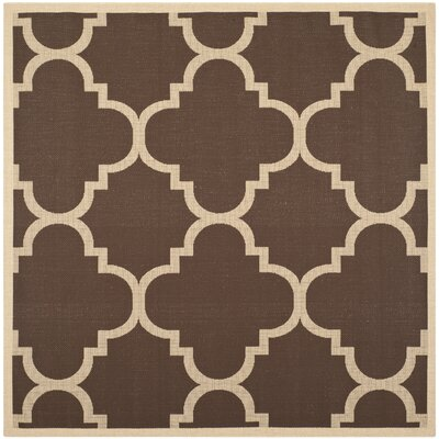 Short Dark Brown Outdoor Area Rug Rug Size: Square 4