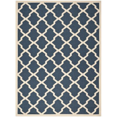 Short Blue Outdoor Area Rug Rug Size: Rectangle 53 x 77