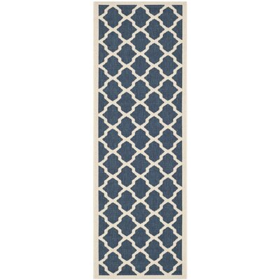 Welby Navy & Beige Outdoor Area Rug Rug Size: Runner 23 x 14