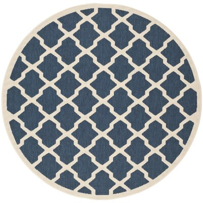Short Blue Outdoor Area Rug Rug Size: Round 4