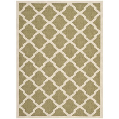 Short Green/Beige Outdoor Loomed Area Rug Rug Size: Rectangle 4 x 57