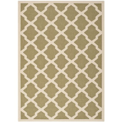 Short Green/Beige Outdoor Loomed Area Rug Rug Size: Rectangle 53 x 77