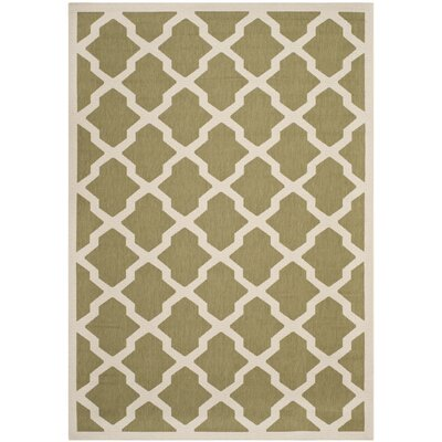 Short Green/Beige Outdoor Loomed Area Rug Rug Size: Rectangle 67 x 96