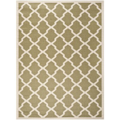 Short Green/Beige Outdoor Loomed Area Rug Rug Size: Rectangle 8 x 11