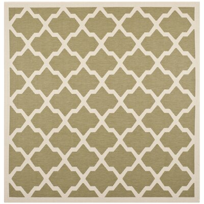 Short Green/Beige Outdoor Loomed Area Rug Rug Size: Square 4