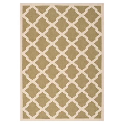 Short Green/Beige Outdoor Loomed Area Rug Rug Size: Rectangle 2 x 37