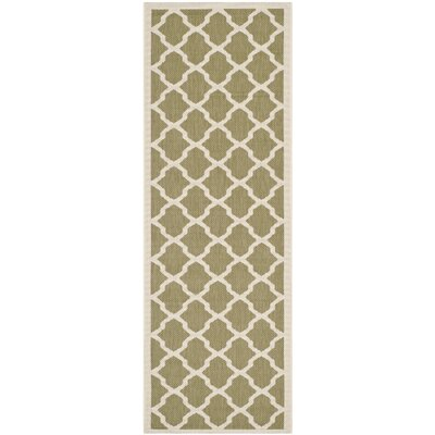 Short Green/Beige Outdoor Loomed Area Rug Rug Size: Runner 23 x 10