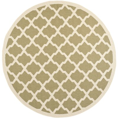 Short Green/Beige Outdoor Loomed Area Rug Rug Size: Round 710